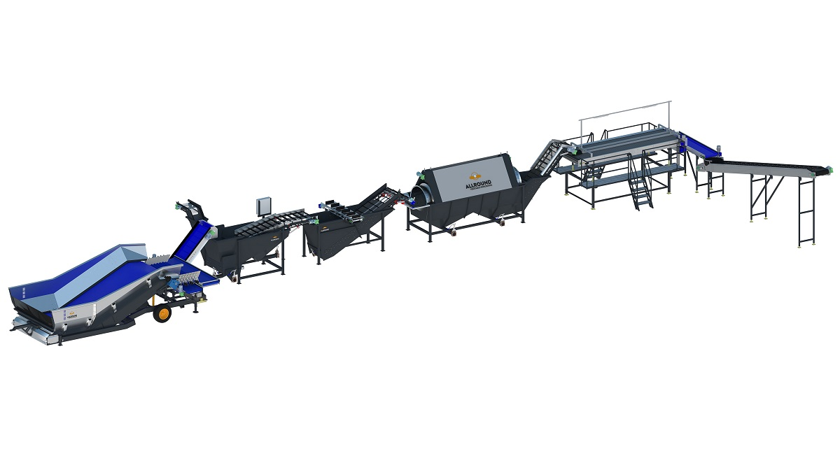 Processing line with skin separator and destoner for industrial potatoes