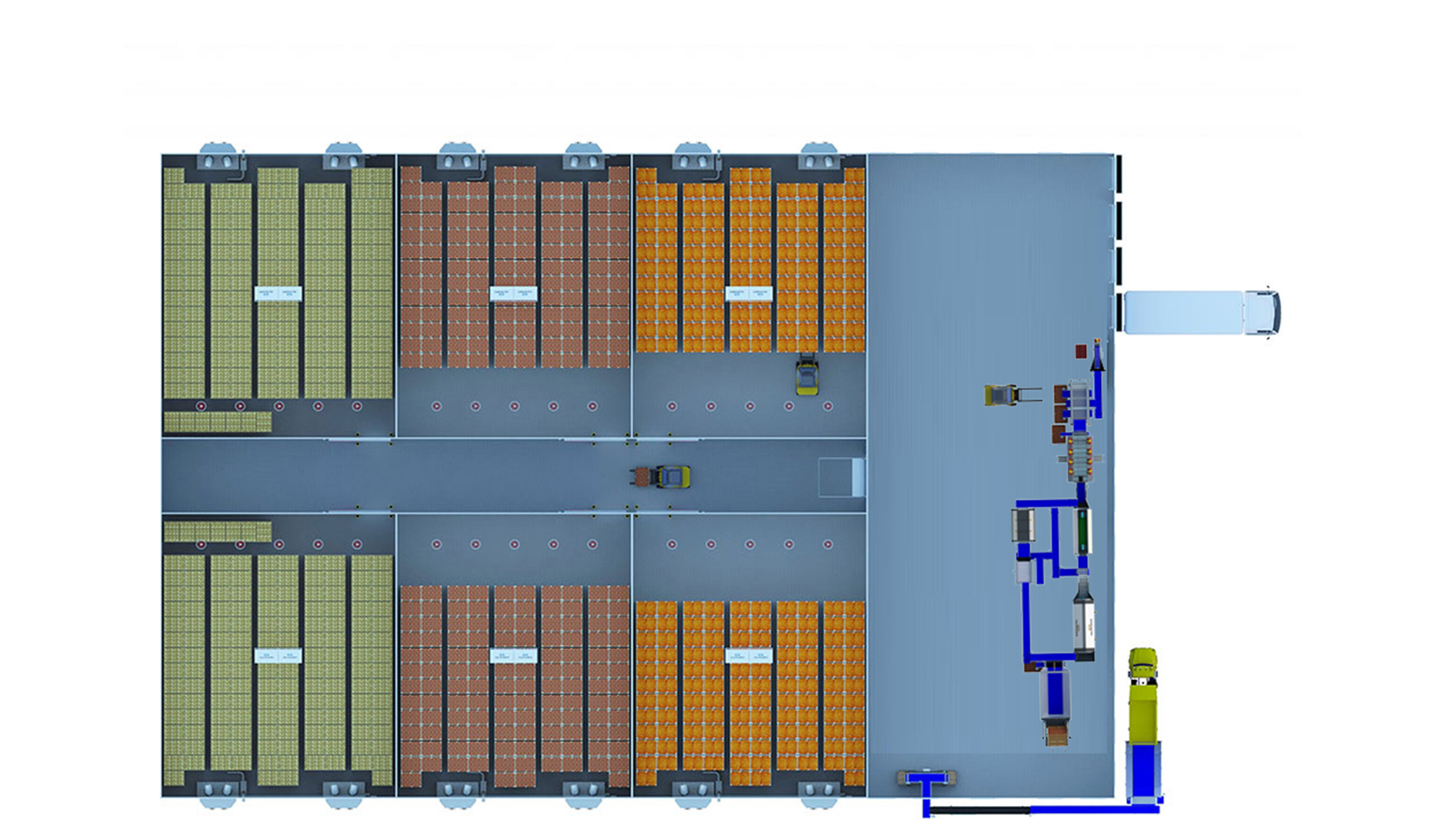 distribution centre topview with storage and processing line