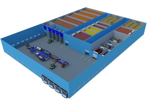 isometric view of a 5000 tons of storage distribution centre