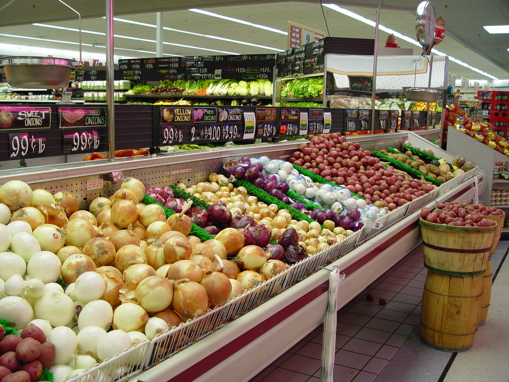 a supermarket with vegetables